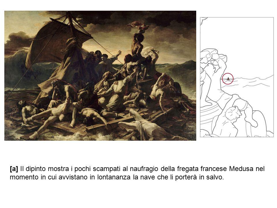 [a] Il dipinto mostra i pochi scampati al naufragio della fregata francese Medusa nel momento in cui avvistano in lontananza la nave che li porterà in salvo.